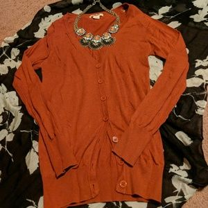 Long sleeve orange cardigan
